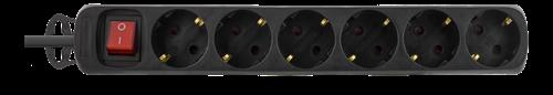 Grenuttag med strömbrytare och 6xCEE 7/4 uttag