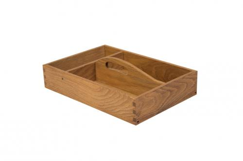 Cutlery box with 3 compartments and handle