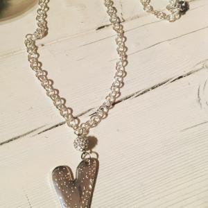 Halsband lång hjärta bling