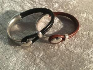 Armband läder/metall brun half n half