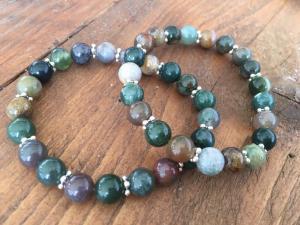 Armband agat grön mix 2 st