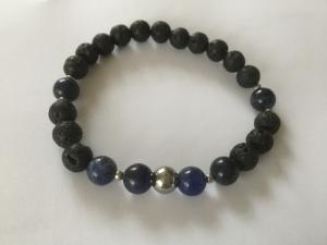 Herrarmband elastiskt lava//agat pärlor