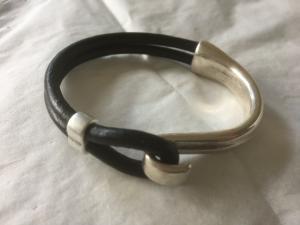 Armband krok/läder half n half