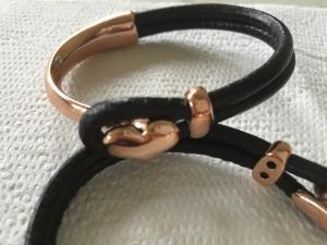 armband läder/metall-rose-hjärta