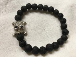Lava armband/skull silver