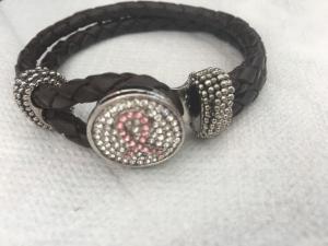 Armband rosa band brun