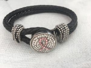 Armband rosa band, svart