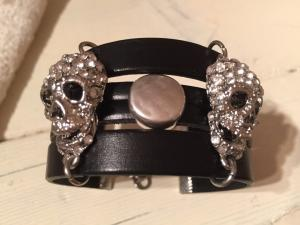 armband läder-skull