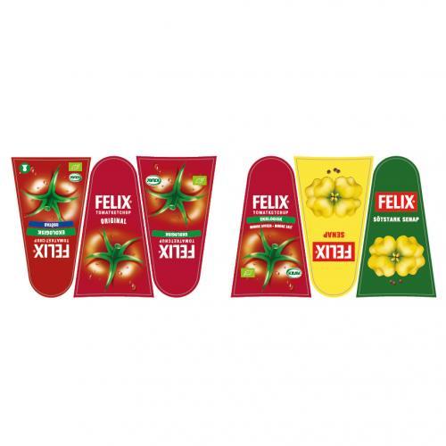 Orkla Sentomat Basic Etikettark FELIX Ketchup och Senap