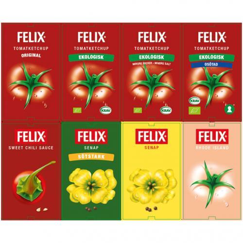 Orkla Sentomat United Etikettark FELIX Ketchup, Senap och Dressing