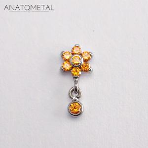 Flower, Bezel Dangle Tangerine Small