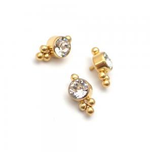Kristall topp - Piercingsmycke  - PVD Guld - Vita Swarovski kristaller