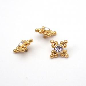 Stjärna topp - Piercingsmycke  - PVD Guld - Vita Swarovski kristaller