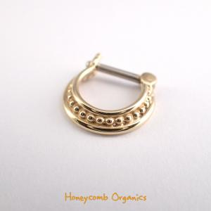 Beaded 3-Ring Septum Clicker, Gold Plating