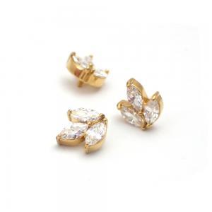 Lotus topp - Piercingsmycke  - PVD Guld - Vita Swarovski kristaller