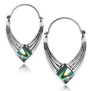 Silverpläterade örhängen - Abalone