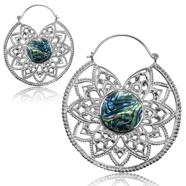 Silverpläterade örhängen - Mandala