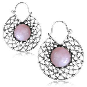 Silverpläterade örhängen - Rose quartz