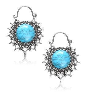 Silverpläterade örhängen - Turkos