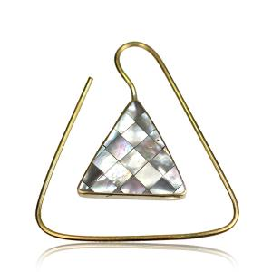 Örhängen i Mässing - triangel pärlemor mosaik