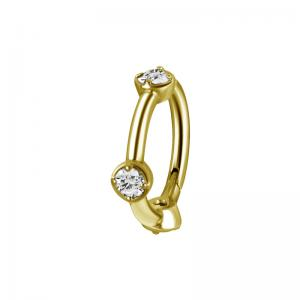 Clicker Ring - Guld - Vita kristaller