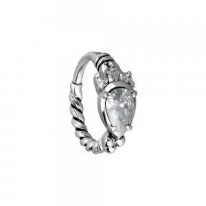 Clicker ring till Piercing - Vita kristaller - Kirurgiskt stål