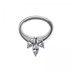 Septum / Daithsmycke - Clicker ring - Vit kristall