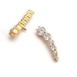Cluster topp till piercing  - PVD Guld - Vita Swarovski kristaller