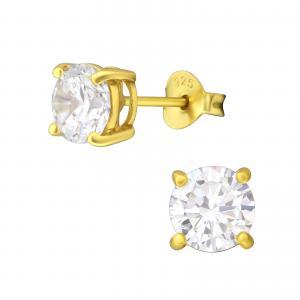 Kristallörhängen - 6mm - Guldpläterat silver