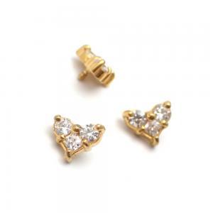 Trinity topp - Piercingsmycke  - PVD Guld - Vita Swarovski kristaller