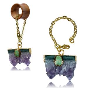 Tunnel hangers, Gold plated Amethyst & Turquoise
