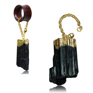 Tunnel hangers, Gold plated Tourmaline