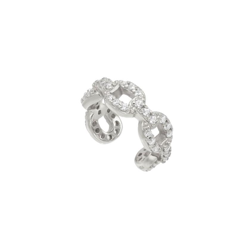 Ear cuff - Vita Kristaller - Äkta Silver