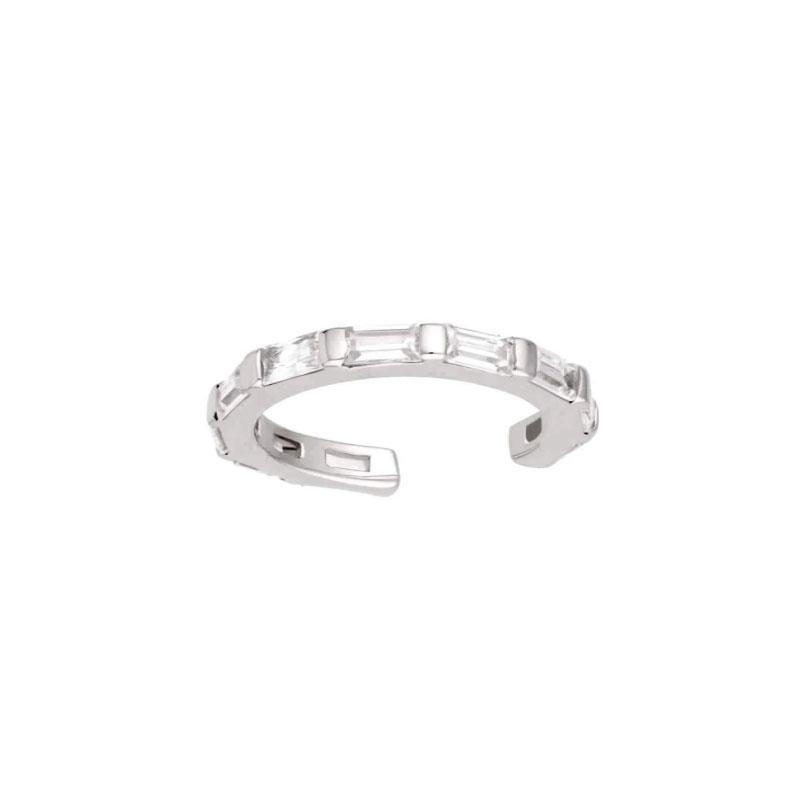 Ear cuff - Ring med Vita Kristaller - Äkta Silver