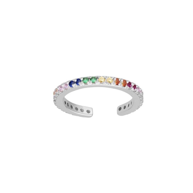 Ear cuff - Ring med kristaller - Regnbåge