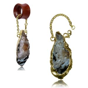 Tunnel hangers, Gold plated druzy quartz