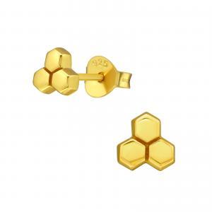 Guldiga små örhängen - Honeycomb