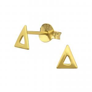 Guldiga små örhängen - Trekant