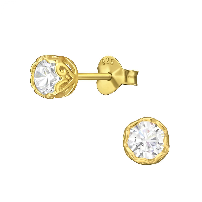 Örhängen- Guldpläterade studs med kristaller