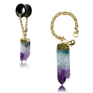 Tunnel hangers, Gold plated Amethyst