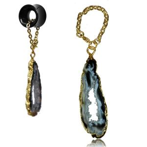 Tunnel hangers, Gold plated druzy agat