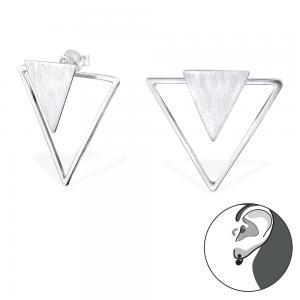 Silver studs örhängen med geometriskt motic av två stycker trianglar.
