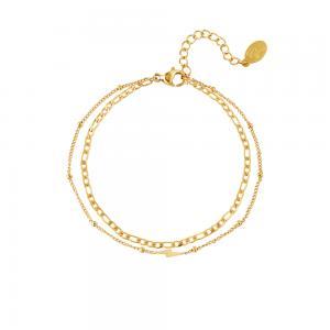 Armband guld - Tunna kedjor med blixt - 18k-guldpläterat kirurgiskt stål
