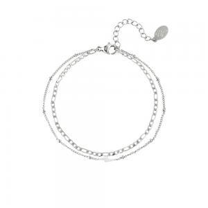 Silverarmband - Tunna kedjor med blixt - Kirurgiskt stål