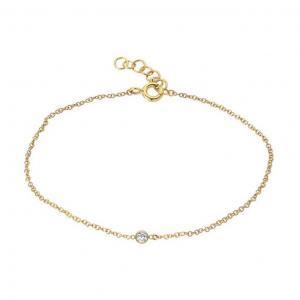 Guldarmband - Tunn länk i guldpläterat silver med kristall