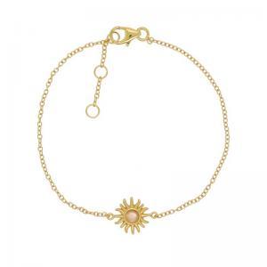 Guldarmband - Tunn länk i guldpläterat silver - Sol