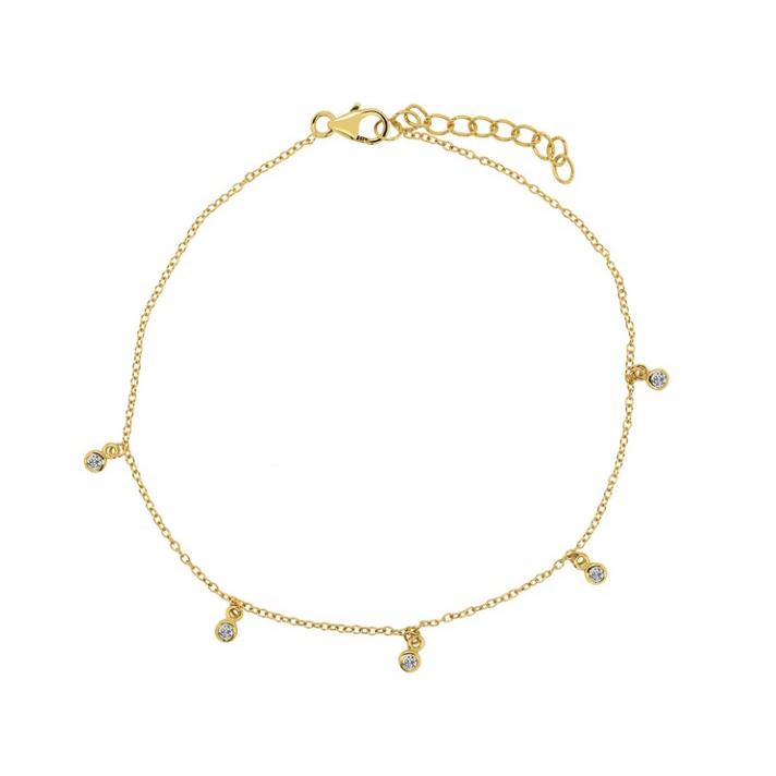 Guldarmband - Tunn länk i guldpläterat silver med kristaller