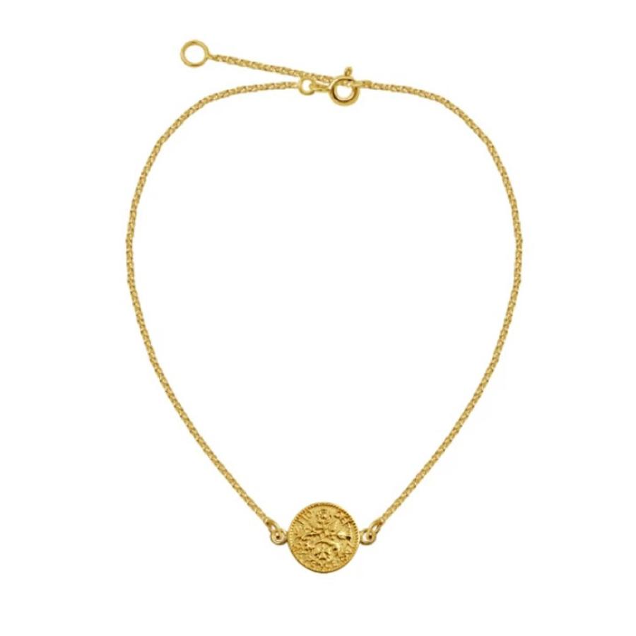 Guldarmband - Tunn länk i guldpläterat silver - Mynt