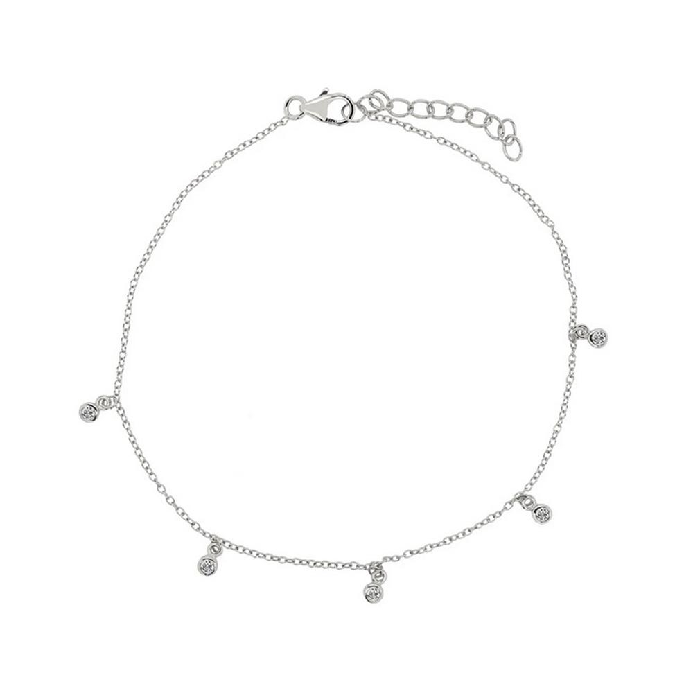 Armband i Äkta Silver med vita kristaller