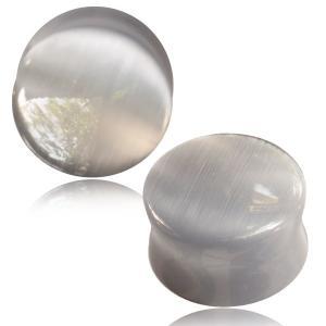 Stone plug,  Grey Cat Eye